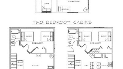 Cabin Rental Floorplans, West Glacier Lodging, 59936