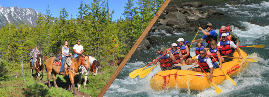 white water rafting glacier national park, horseback ride and raft trip